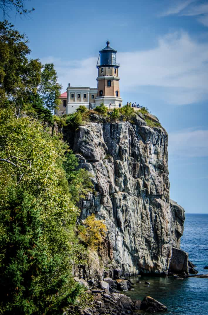 Split lighthouse on the north shore of Lake Superior in northern Minnesota.